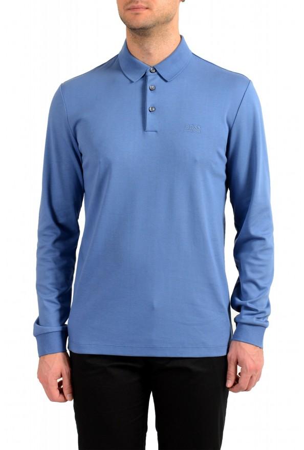 """Hugo Boss """"Pado 11"""" Men's Blue Long Sleeve Polo Shirt"""