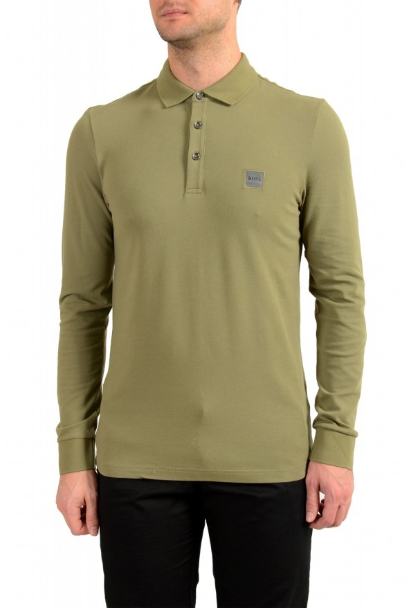 "Hugo Boss ""Passerby"" Men's Slim Fit Green Long Sleeve Polo Shirt"