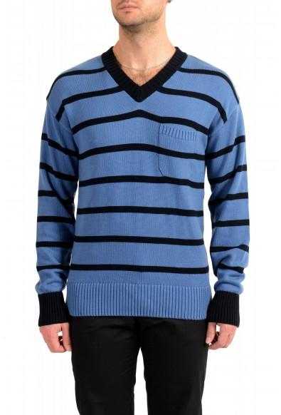 """Hugo Boss Men's """"Pattino"""" Striped V-Neck Cashmere Pullover Sweater"""