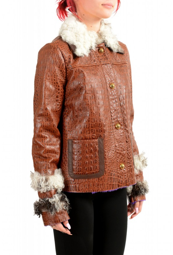 Just Cavalli Women's 100% Leather Lamb Fur Trimmed Brown Jacket : Picture 2
