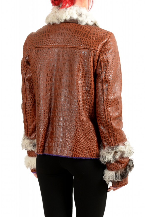 Just Cavalli Women's 100% Leather Lamb Fur Trimmed Brown Jacket : Picture 3