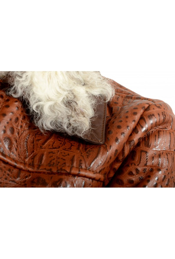 Just Cavalli Women's 100% Leather Lamb Fur Trimmed Brown Jacket : Picture 4