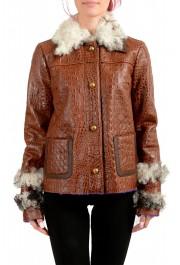Just Cavalli Women's 100% Leather Lamb Fur Trimmed Brown Jacket