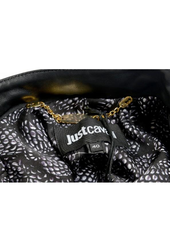 Just Cavalli Women's Black 100% Leather Full Zip Bomber Jacket : Picture 5