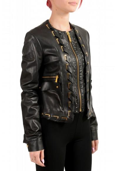 Just Cavalli Women's Black 100% Leather Full Zip Bomber Jacket : Picture 2