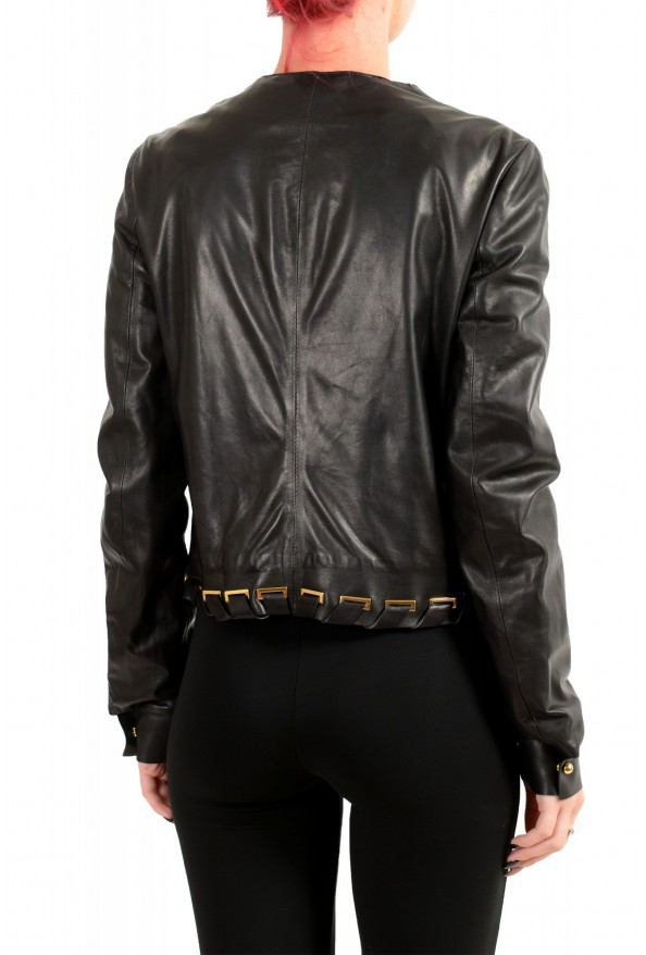 Just Cavalli Women's Black 100% Leather Full Zip Bomber Jacket : Picture 3