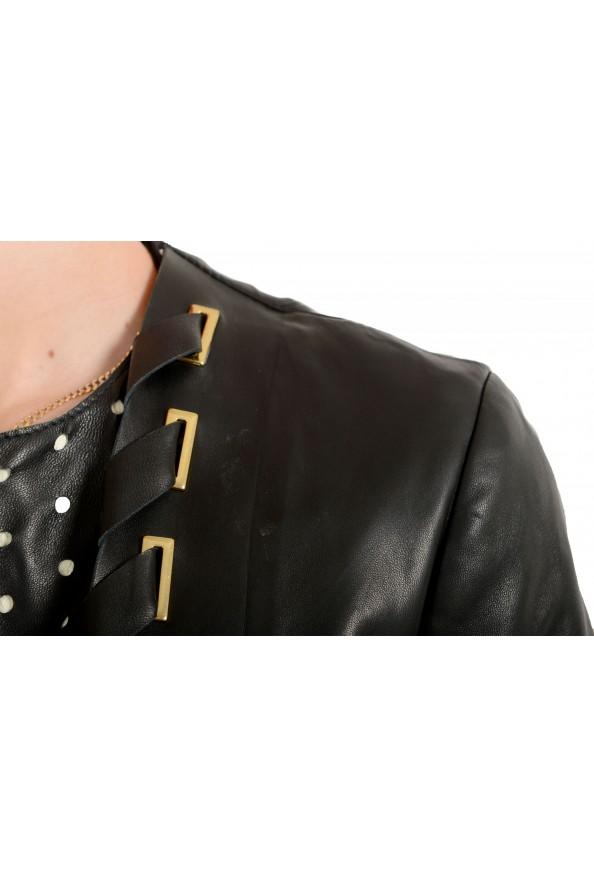 Just Cavalli Women's Black 100% Leather Full Zip Bomber Jacket : Picture 4