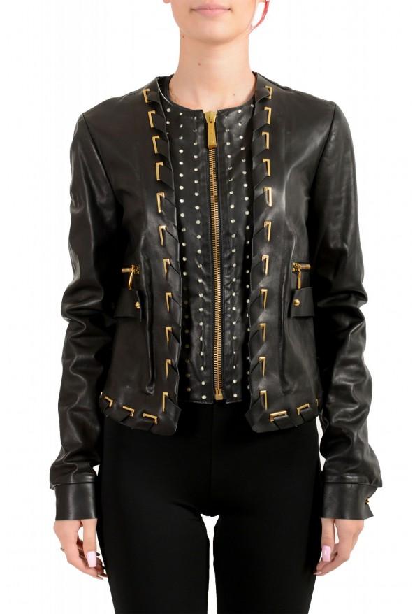 Just Cavalli Women's Black 100% Leather Full Zip Bomber Jacket