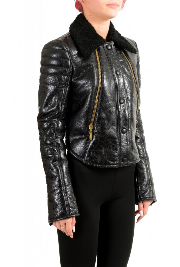 Just Cavalli Women's Black 100% Leather Fur Full Zip Shearling Jacket: Picture 2