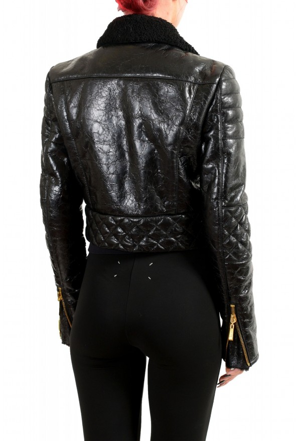 Just Cavalli Women's Black 100% Leather Fur Full Zip Shearling Jacket: Picture 3