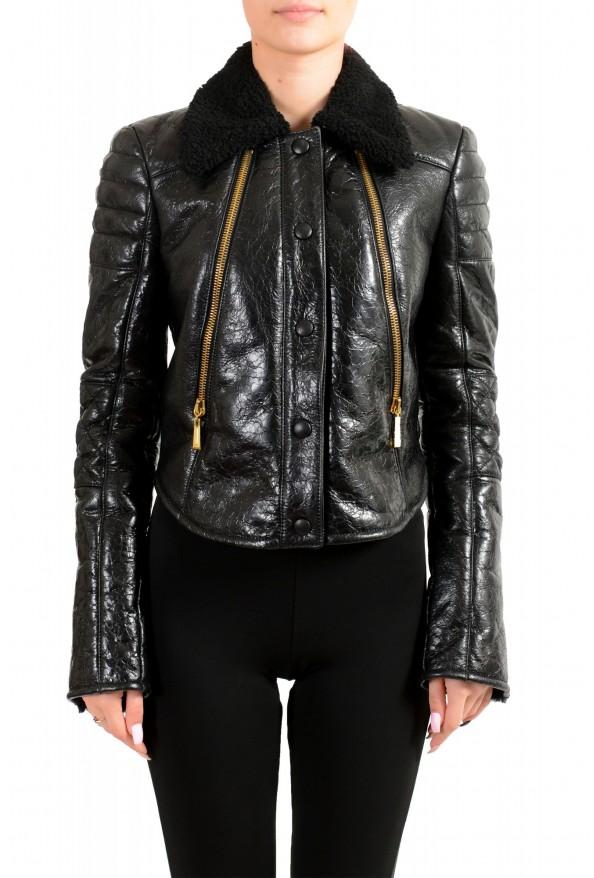 Just Cavalli Women's Black 100% Leather Fur Full Zip Shearling Jacket