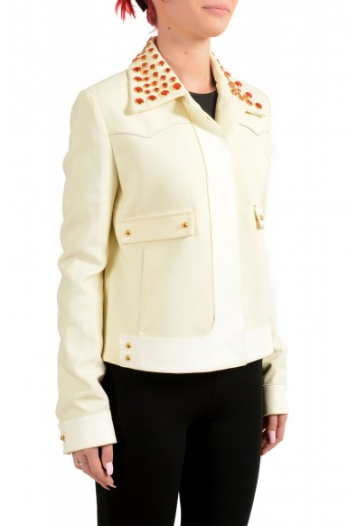 Just Cavalli Women's Ivory Beads Decorated Button Down Jacket : Picture 2