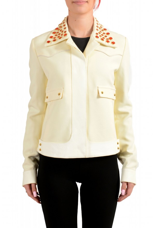 Just Cavalli Women's Ivory Beads Decorated Button Down Jacket