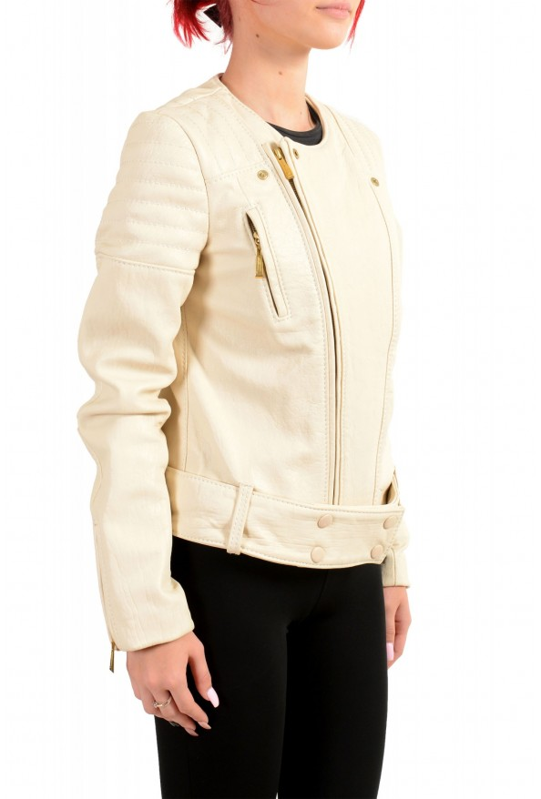 Just Cavalli Women's Ivory 100% Leather Full Zip Bomber Jacket : Picture 2