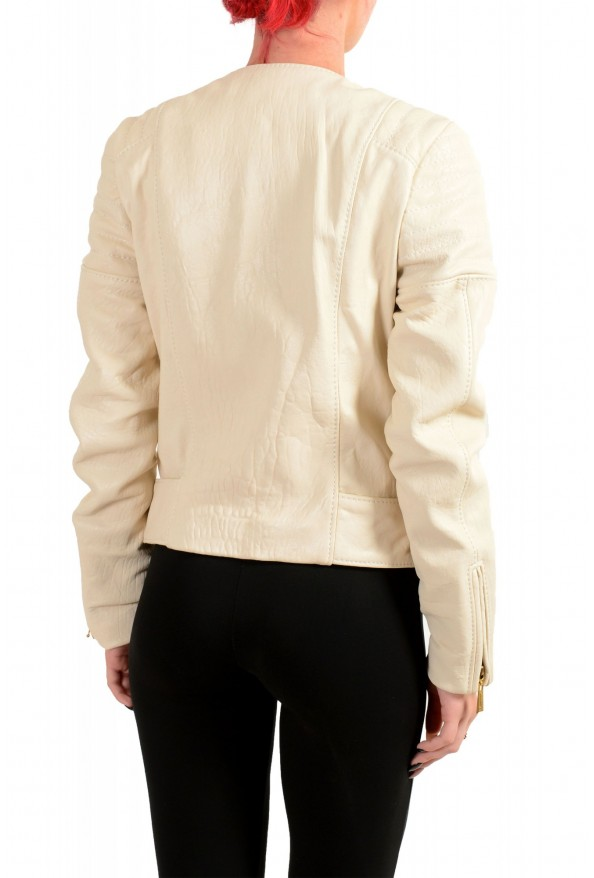 Just Cavalli Women's Ivory 100% Leather Full Zip Bomber Jacket : Picture 3