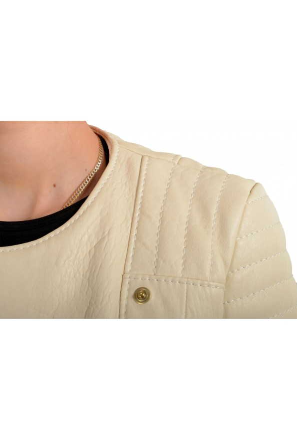 Just Cavalli Women's Ivory 100% Leather Full Zip Bomber Jacket : Picture 4