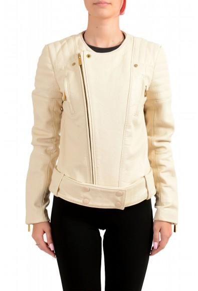 Just Cavalli Women's Ivory 100% Leather Full Zip Bomber Jacket