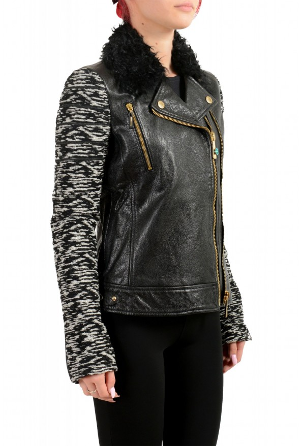 Just Cavalli Women's 100% Leather Goat Hair Trimmed Full Zip Jacket: Picture 2