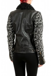 Just Cavalli Women's 100% Leather Goat Hair Trimmed Full Zip Jacket: Picture 3