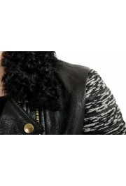 Just Cavalli Women's 100% Leather Goat Hair Trimmed Full Zip Jacket: Picture 4