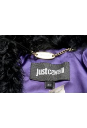 Just Cavalli Women's 100% Leather Goat Hair Trimmed Full Zip Jacket: Picture 5