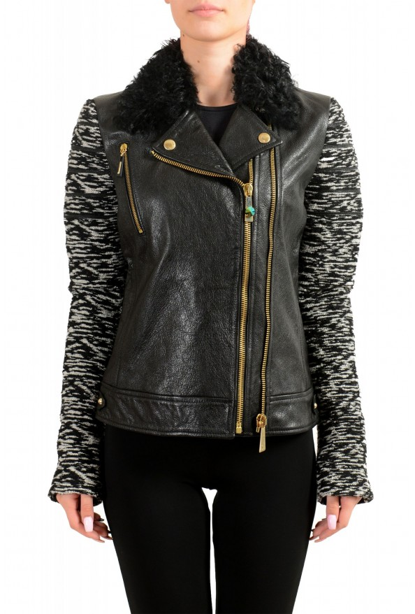 Just Cavalli Women's 100% Leather Goat Hair Trimmed Full Zip Jacket