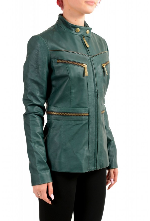 Just Cavalli Women's 100% Leather Green Full Zip Bomber Jacket : Picture 2