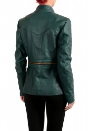 Just Cavalli Women's 100% Leather Green Full Zip Bomber Jacket : Picture 3