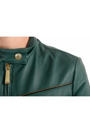 Just Cavalli Women's 100% Leather Green Full Zip Bomber Jacket : Picture 4