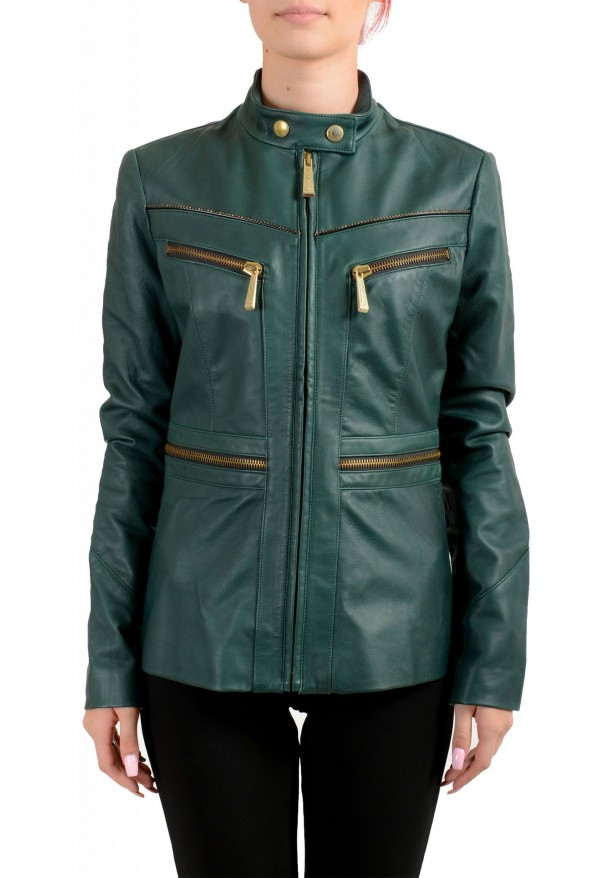Just Cavalli Women's 100% Leather Green Full Zip Bomber Jacket
