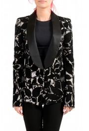 Just Cavalli Women's Sequins Decorated Tuxedo Style Blazer