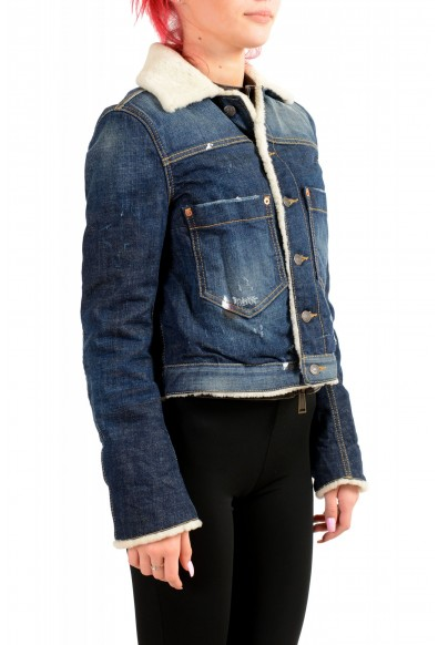 Dsquared2 Women's Denim & Leather Fur Full Zip Shearling Jacket : Picture 2