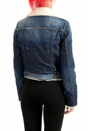 Dsquared2 Women's Denim & Leather Fur Full Zip Shearling Jacket : Picture 3