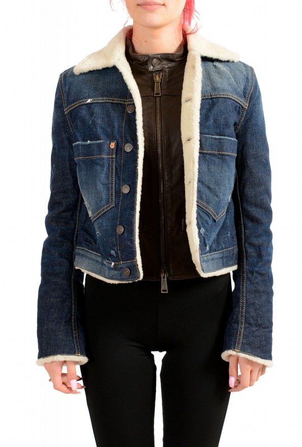 Dsquared2 Women's Denim & Leather Fur Full Zip Shearling Jacket : Picture 5