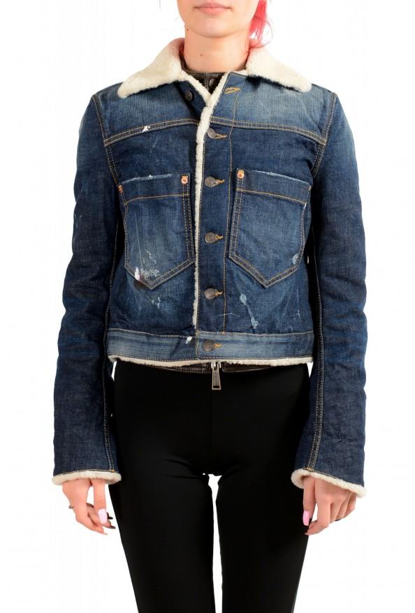 Dsquared2 Women's Denim & Leather Fur Full Zip Shearling Jacket
