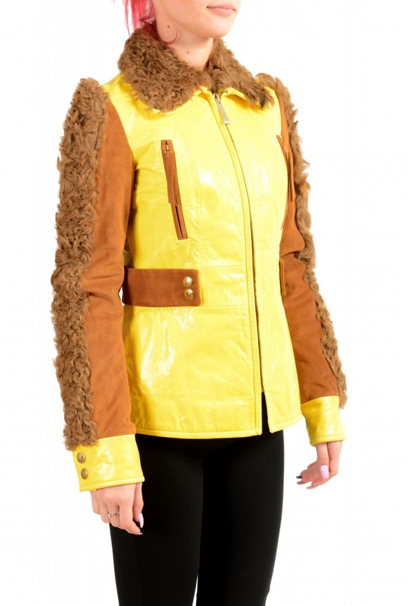 Just Cavalli Women's 100% Leather Goat Hair Trimmed Basic Jacket: Picture 2