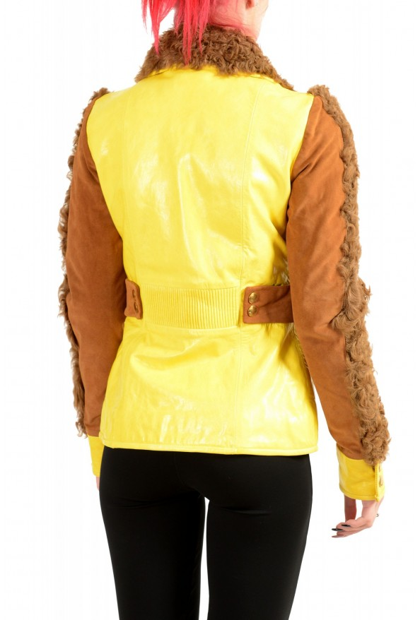 Just Cavalli Women's 100% Leather Goat Hair Trimmed Basic Jacket: Picture 3