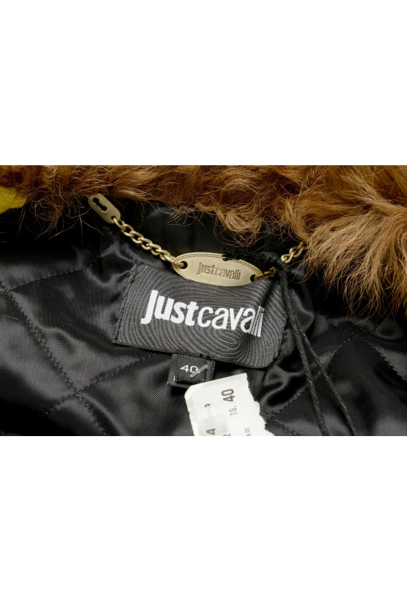 Just Cavalli Women's 100% Leather Goat Hair Trimmed Basic Jacket: Picture 5