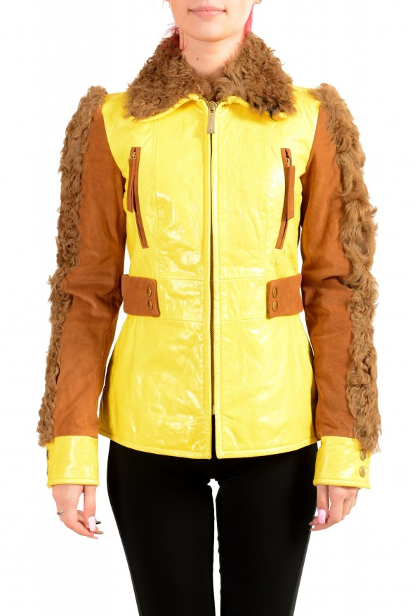 Just Cavalli Women's 100% Leather Goat Hair Trimmed Basic Jacket