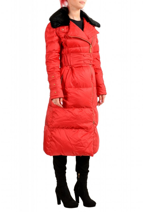 Just Cavalli Women's Red Real Beaver Fur Collar Long Down Parka : Picture 2