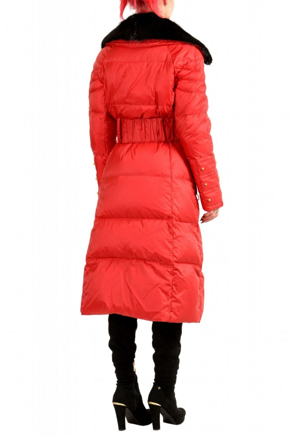Just Cavalli Women's Red Real Beaver Fur Collar Long Down Parka : Picture 3