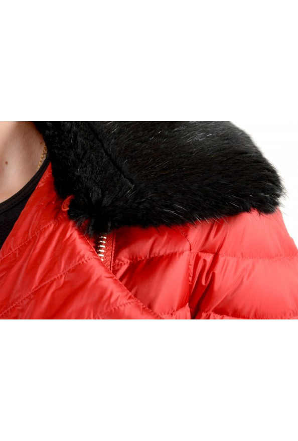 Just Cavalli Women's Red Real Beaver Fur Collar Long Down Parka : Picture 4