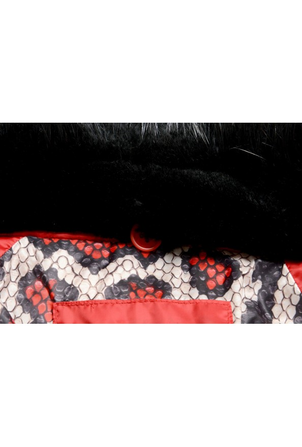Just Cavalli Women's Red Real Beaver Fur Collar Long Down Parka : Picture 7