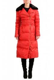 Just Cavalli Women's Red Real Beaver Fur Collar Long Down Parka