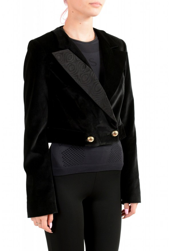 Just Cavalli Women's Black Double Breasted Velour Cropped Blazer : Picture 2