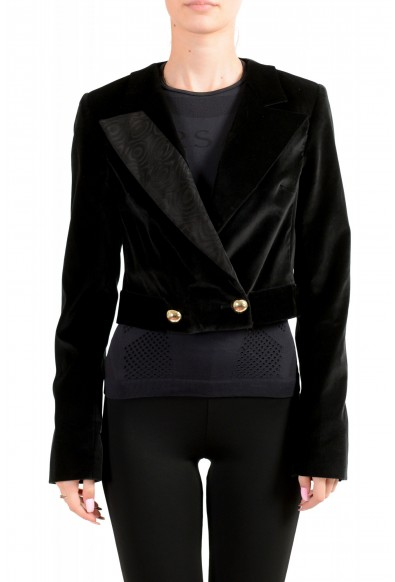 Just Cavalli Women's Black Double Breasted Velour Cropped Blazer