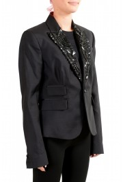 Dsquared2 Women's Wool Silk Black Beads Decorated One Button Blazer: Picture 2