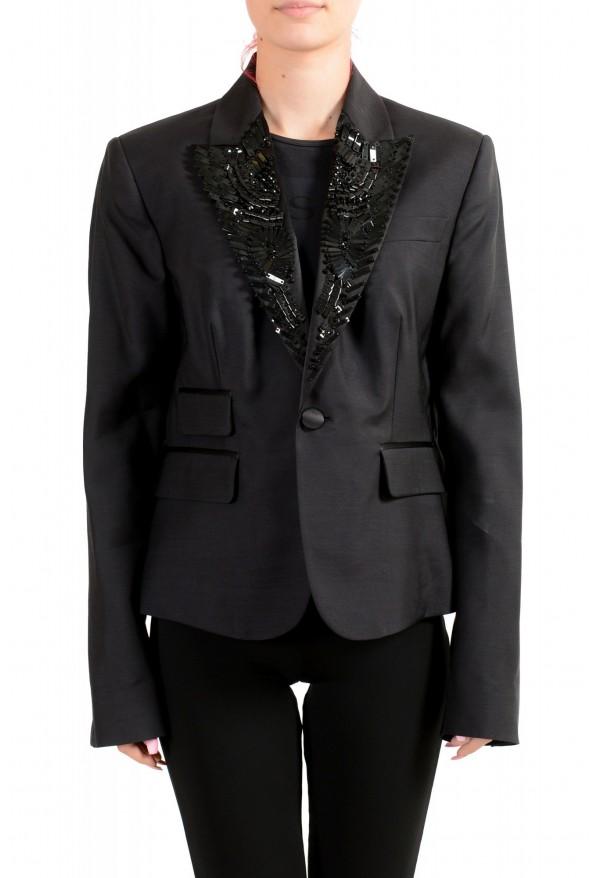 Dsquared2 Women's Wool Silk Black Beads Decorated One Button Blazer