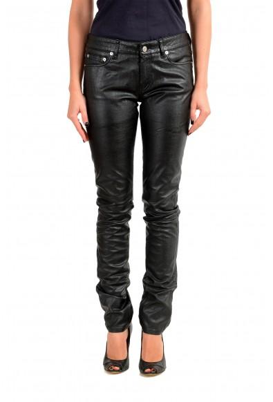 Saint Laurent Women's Black Coated Jeans
