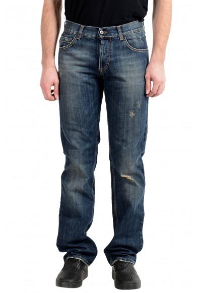 Exte Men's Blue Ripped Straight Leg Jeans